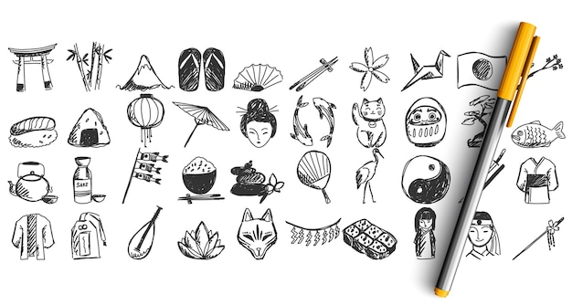 Set of japan doodle isolated on white