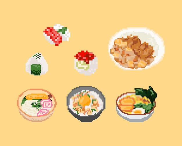 Set of japan food in pixel art. 8 bit art .