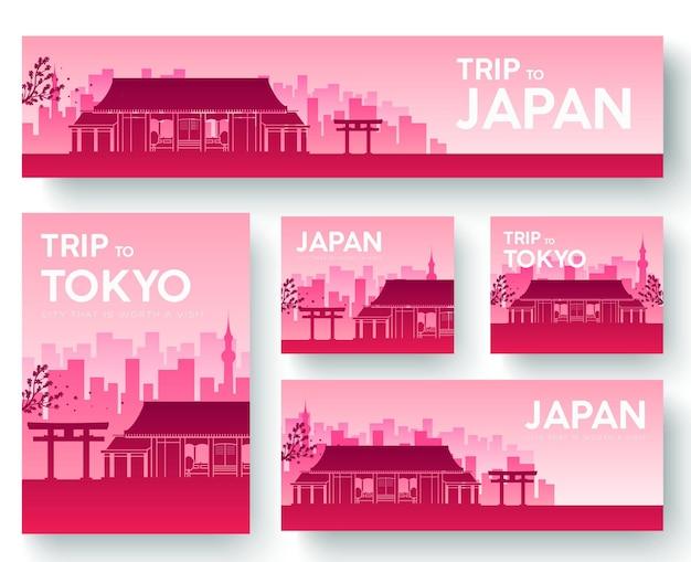Set of japan landscape country ornament travel tour concept