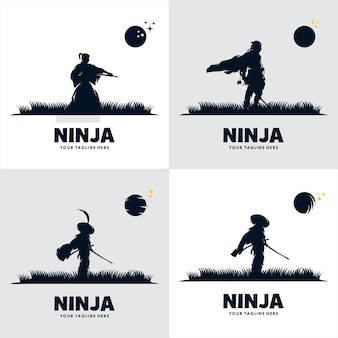 Set of japan ninja sword logo