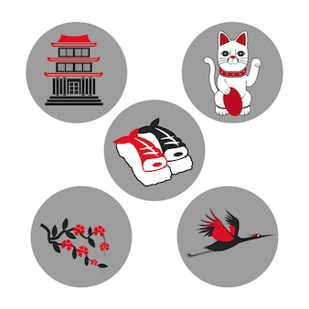 Set japan symbol decoration