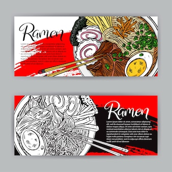 Set of japanese food banners