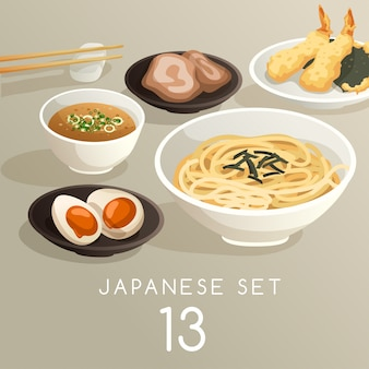 Set of japanese food illustration
