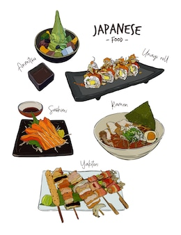 Set of japanese food