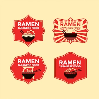 Set of japanese noodles or ramen badges