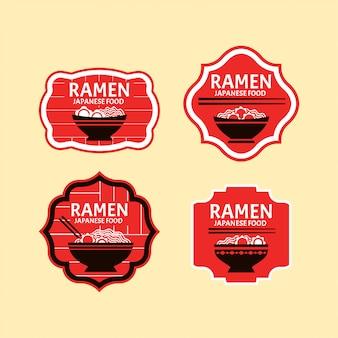 Set of japanese noodles or ramen badges