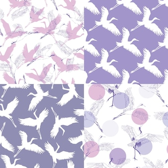 A set of japanese patterns. seamless vector ornaments with traditional motifs.