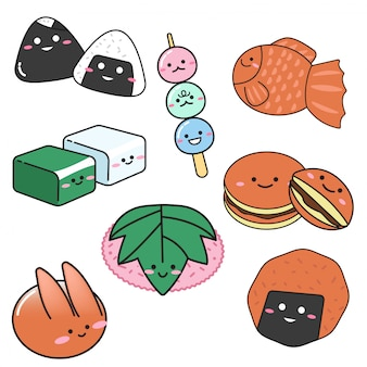 Set of japanese sweet dessert in doodle style
