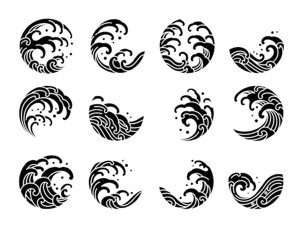 Set of japanese water wave logo oriental silhouette style.