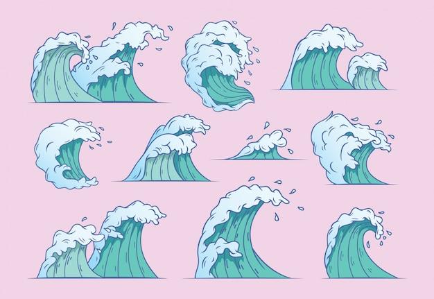 Set of japanese waves