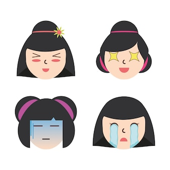Set japanese women faces with expression