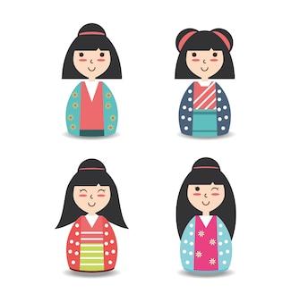 Set japanese women with kimono design