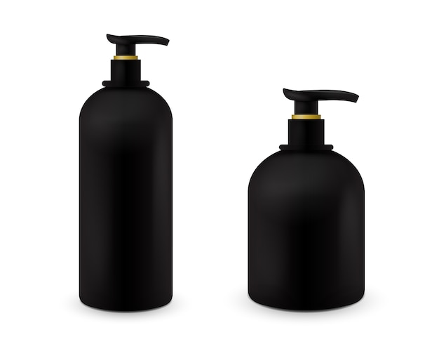 Set of jar with liquid soap for your logo and design is easy to change colors. realistic black cosmetic container for soap cream, lotion. mock up bottle.