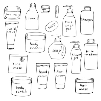Set of jars with care cosmetics, creams and scrubs for face, body, hands and feet, shampoo and hair balm, vector illustration, sketch