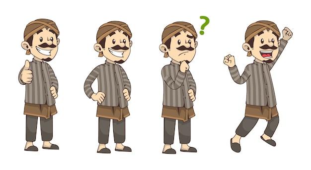 Set of javanese man character