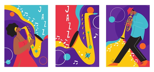 Set of jazz festival posters compositions included saxophone trombone clarinet violin double bass piano trumpet bass drum and banjo guitar