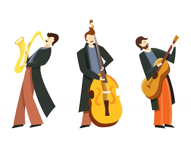 Set of jazz musicians. double bass player, saxophonist and guitar player in flat style isolated on white background.