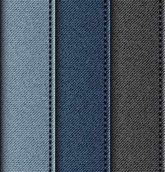 Set of jeans vertical stripes with stitches.