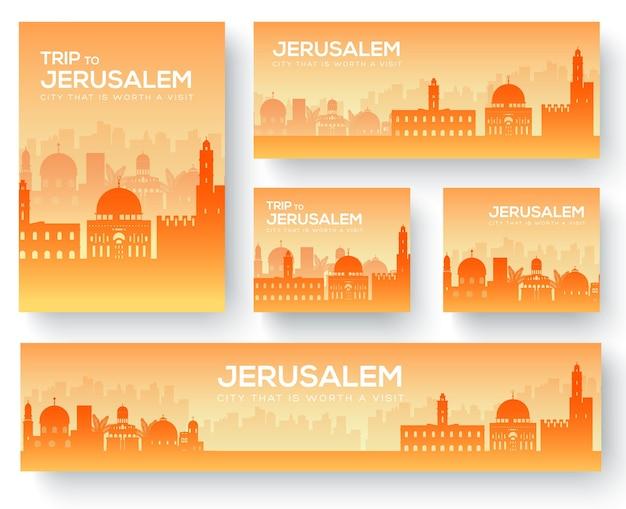 Set of jerusalem landscape country ornament travel tour