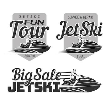 Set of jet ski rental, fun tour, service and repair, big sale logo