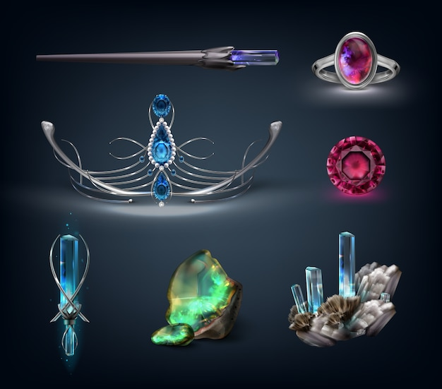 Set of jewelry items with gemstones