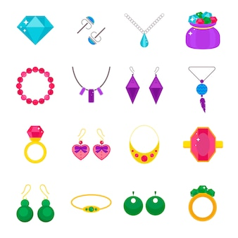 Set of jewelry vector flat elements
