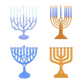 Set of jewish menorah candelabrum
