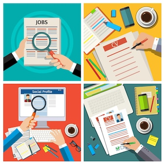 Set of job interview concept with business cv resume. cv resume in hands, cv resume on the table, write a resume. check cv resume. flat vector illustration.