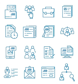 Set of jobs icons with outline style