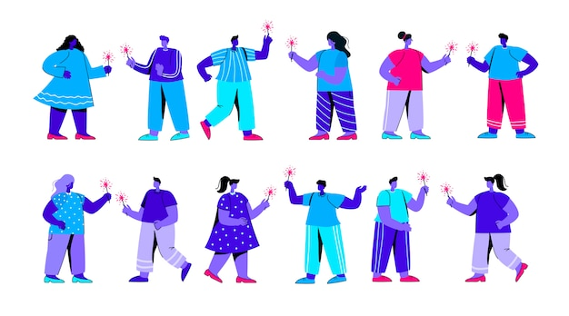 Set of joyful boys and girls with sparklers having fun flat blue people character