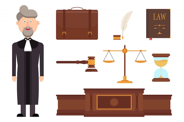 Set of judge character and law elements  illustration