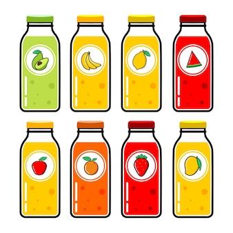 Set of juice bottle