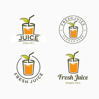 Set of juice drink logo template combination mark