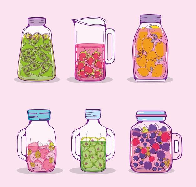 Set of juice mason jars cartoons