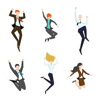 Set of jumping business people in the air.