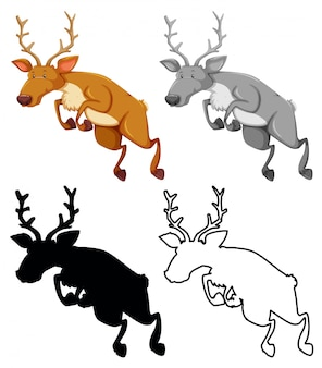 Set of jumping elks