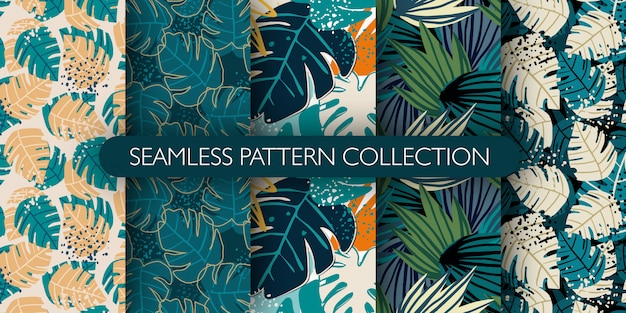 Set of jungle exotic leaves seamless pattern. hand drawn tropical leaf wallpaper. creative botanical  illustration.