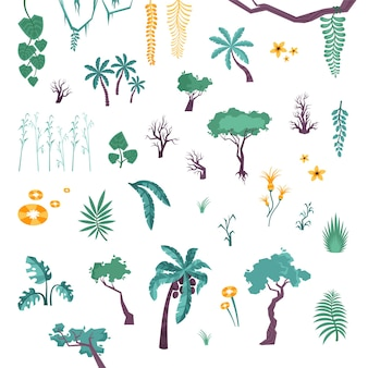 Set of jungle trees and plants
