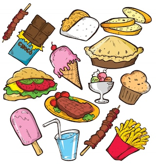 Set of junk food in doodle style