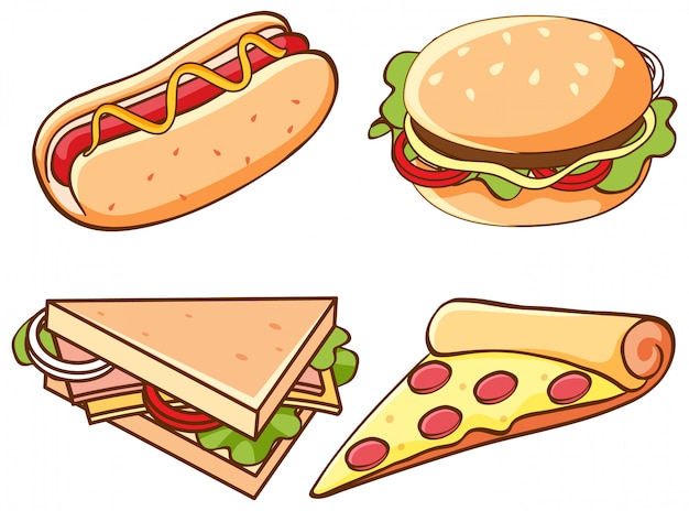 Set of junk food on white background