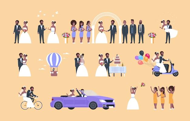 Набор просто женатый мужчина женщина стоя вместе разные концепции коллекция пара жених и невеста в любви свадьба день празднование полная длина горизонтальный квартира