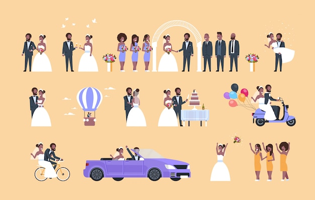 Set just married man woman standing together different concepts collection   couple bride and groom in love wedding day celebration full length horizontal flat