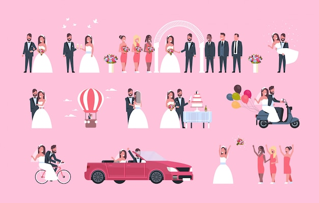 Set just married man woman standing together different concepts collection romantic couple bride and groom in love wedding day celebration full length horizontal