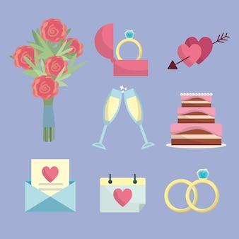 Установить только что женился с вещами к церемонии