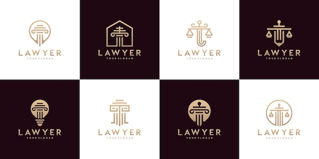Set of justice law symbols law office, law firm, attorney services, luxury logo design templates