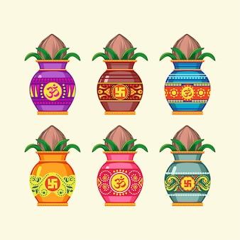 Set of kalash india ceramic pot illustration
