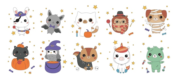 Set of kawaii animals in different halloween costumes