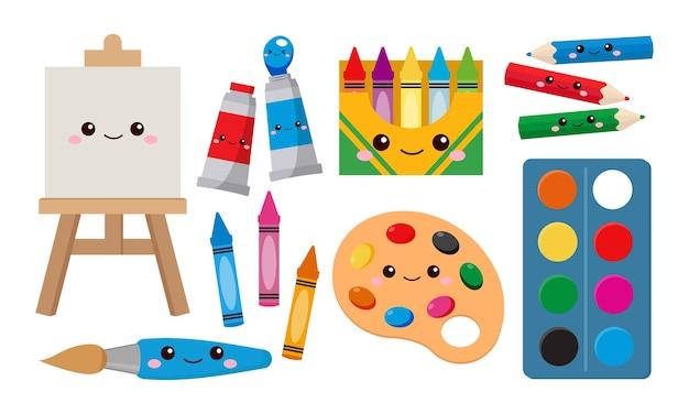 Set of kawaii art supplies
