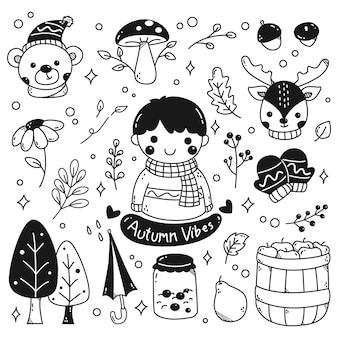 Set of kawaii autumn in doodle style vector