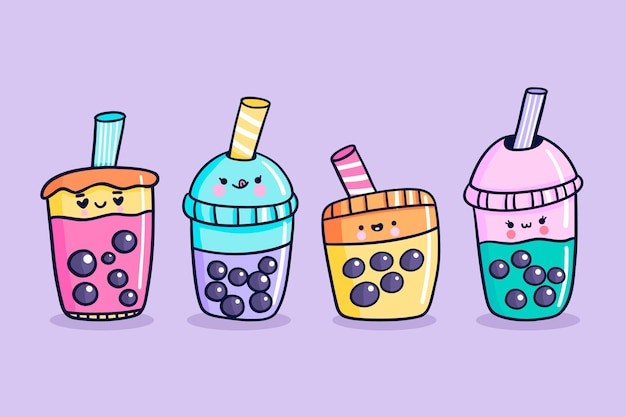 Set of kawaii bubble tea